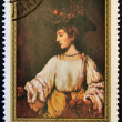 MONGOLIA - CIRCA 1981: A stamp printed in Mongolia shows Hendrickje like Flora by Rembrandt, circa 1981 — Stock Photo