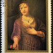 "MONGOLIA - CIRCA 1980: A stamp printed in Mongolia shows draw ""Saskia with red flower"" by Rembrandt, circa 1980 — Stock Photo #11844521"