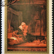 "MONGOLIA - CIRCA 1981: A stamp printed in Mongolia shows the painting ""Holy Family with drape"" by Rembrandt, circa 1981 — Stock Photo"