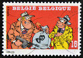 "BELGIUM - CIRCA 1995: A stamp printed in Belgium shows the adventures of two bodyguards, ""Attaway et Gorilles Jack Sammy Day"" publication of Dupuis, circa 1995 — Stock Photo"