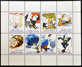 RUSSIA - CIRCA 1997: A stamp printed in Russia,collection of eight stamps showing caricatures of famous of the country related to chess, circa 1997 — Foto de Stock