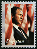 DAGESTAN - CIRCA 2001: A stamp printed in Republic of Dagestan shows George Bush, circa 2001 — 图库照片