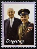 DAGESTAN - CIRCA 2001: A stamp printed in Republic of Dagestan shows Yuri Gagarin - first human in space, circa 2001 — Stock Photo