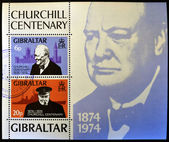 GIBRALTAR - CIRCA 1974 : Stamp printed in Gibraltar shows image of sir Winston Churchill, 1874-1974, circa 1974 — Stock Photo