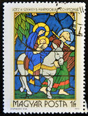 HUNGARY - CIRCA 1972: A stamp printed in Hungary shows Stained-glass Window, Flight into Egypt, circa 1972 — Photo