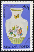 HUNGARY - CIRCA 1972: A stamp printed in Hungary shows Porcelain Vase with flowers and butterflies, circa 1972 — Stock Photo