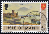 ISLE OF MAN - CIRCA 1973: A stamp printed in Isle of Man shows Peel, circa 1973 — Stockfoto