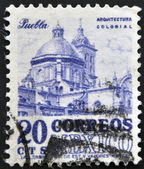 MEXICO - CIRCA 1960: A stamp printed in Mexico shows Cathedral of Puebla, circa 1960 — 图库照片