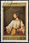 MONGOLIA - CIRCA 1981: A stamp printed in Mongolia shows Hendrickje like Flora by Rembrandt, circa 1981 — ストック写真