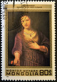 "MONGOLIA - CIRCA 1980: A stamp printed in Mongolia shows draw ""Saskia with red flower"" by Rembrandt, circa 1980 — Stock Photo"