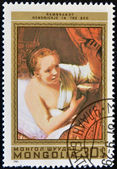 MONGOLIA - CIRCA 1981: stamp printed in Mongolia shows Hendrickje in the Bed, by Rembrandt, circa 1981 — Stock Photo