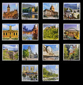 UNITED KINGDOM - CIRCA 2012: Collection stamps printed in Great Britain shows emblematic place the UK, circa 2012 — Stock Photo