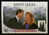SAINT LUCIA - CIRCA 1986: A stamp printed in Saint Lucia shows a portrait of Prince Andrew and his wife Sarah Margaret Ferguson, Duke of York,the royal wedding commemorative, circa 1986 — Foto Stock