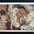 Постер, плакат: GERMANY CIRCA 2008: A stamp printed in Germany shows the paintings Self Portrait with Model 1902 and the morning sun of Lovis Corinth circa 2008