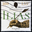 GERMANY- CIRCA 2001: stamp printed in Germany shows Hand writing with feather, Johann Heinrich Voss, circa 2001. — Stock Photo