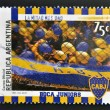 ARGENTINA - CIRCA 1999: A stamp printed in Argentina shows the fans of Boca Juniors, circa 1999 — Stock Photo