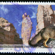 ARGENTINA - CIRCA 1999: A stamp printed in Argentina shows Talampaya National Park and small gray fox, Dusicyon griseus, circa 1999 - Stock Photo