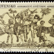 Stock Photo: CZECHOSLOVAKI- CIRC1975: stamp printed in Czechoslovakishows happy in remembrance of liberation, circ1975