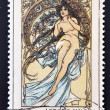 "Stock Photo: CZECHOSLOVAKI- CIRC1969: stamp printed in Czechoslovakishows women allegory ""Painting"" by Alfons Mucha, circ1969"