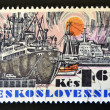 CZECHOSLOVAKIA - CIRCA 1972: A stamp printed in Czechoslovakia shows a ship, circa 1972 — Stock Photo
