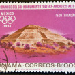 Stock Photo: PANAM- CIRC1967: stamp printed in Panamshows pyramid of Sun, Teotihuacan, Mexico, circ1967