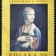 POLAND - CIRCA 1970: A stamp printed in Poland shows painting of Leonardo da Vinci - Lady with an Ermine, circa 1970 — Stock Photo