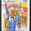 ROMANIA - CIRCA 1990: stamp printed in Romania shows Soldiers and crowd, popular revolution, circa 1990 — Stock Photo