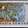 Stock Photo: ROMANIA - CIRCA 1990: A stamp printed in Romania shows Field of Irises by Vincent Van Gogh, circa 1990