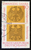 GERMANY - CIRCA 1969: A stamp printed in Germany celebrates 50 years of the Weimar Constitution and 20 of the Basic Law of Bonn, circa 1969 — Stock Photo