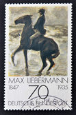"GERMANY - CIRCA 1978: A stamp printed in Germany shows ""Horseman on the shore turning left"" by Max Liebermann, circa 1978. — Stock Photo"