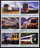 ANGOLA - CIRCA 2000: Collection stamps shows different trains, circa 2000 — Stok fotoğraf