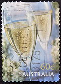 AUSTRALIA - CIRCA 2010: A stamp printed in Australia shows a two glasses of champagne, circa 2010 — Stock Photo