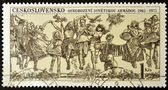 CZECHOSLOVAKIA - CIRCA 1975: A stamp printed in Czechoslovakia shows happy in remembrance of the liberation, circa 1975 — Stock Photo
