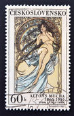 "CZECHOSLOVAKIA - CIRCA 1969: A stamp printed in Czechoslovakia shows women allegory ""Painting"" by Alfons Mucha, circa 1969 — Stock Photo"