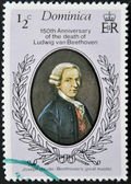 DOMINICA - CIRCA 1977: A stamp printed in Dominica shows Ludwig van Beethoven, circa 1977 — Zdjęcie stockowe