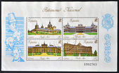 SPAIN - CIRCA 1989: A collection stamps printed in Spain showing four royal palaces and the kings who ordered the construction, circa 1989 — ストック写真