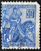 FRANCE - CIRCA 1929: A stamp printed in France shows liberation of Orleans by Joan of Arc, circa 1929 — Stock Photo