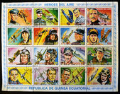EQUATORIAL GUINEA - CIRCA 1974: Collection stamps printed in Guinea dedicated to air heroes, historic aviators, circa 1974 — Stock Photo