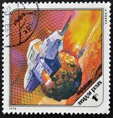 Ungheria - intorno al 1978: un timbro stampato in spettacoli di ungheria una futuristica nave spaziale intorno phobos, la luna marziana, intorno al 1978. — Foto Stock