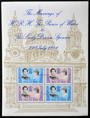 ISLE OF MAN - CIRCA 1981: Stamp celebrating the Royal Wedding of Prince Charles and Lady Diana Spencer, circa 1981 — Stock Photo