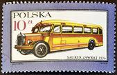 POLAND - CIRCA 1987: A stamp printed in Poland shows Bus Super-Zawrat - 1936, circa 1987 — Stock Photo