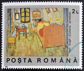 ROMANIA - CIRCA 1990: A stamp printed in Romania shows Van Gogh's Bedroom, circa 1990 — Stock Photo
