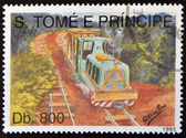SAO TOME AND PRINCIPE - CIRCA 1993: A stamp printed in Sao Tome shows a train, circa 1993 — Stock Photo