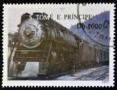 SAO TOME AND PRINCIPE - CIRCA 1997: A stamp printed in Sao Tome shows a train, circa 1997 — Foto Stock