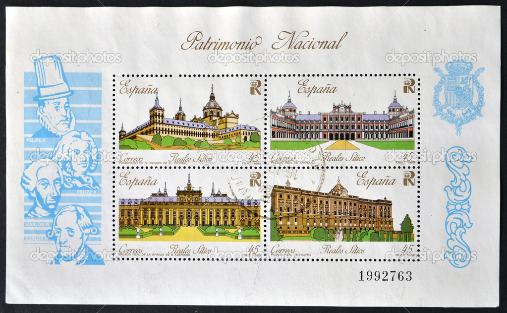 SPAIN - CIRCA 1989: A collection stamps printed in Spain showing four royal palaces and the kings who ordered the construction, circa 1989 — Stock Photo #11969670