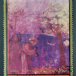 AJMAN - CIRCA 1972: A stamp printed in Ajman Christmas collection, peace in the world, shows a San Francisco fresco birds specking the work of Giotto, circa 1972 — Stock Photo