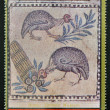Stock Photo: AJMAN - CIRC1972: stamp printed in AjmChristmas collection, peace in world, fresh piece of terme´s museum in Rome, shows two turkeys and Tower of Pis, circ1972
