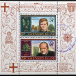 ASCENSION ISLAND - CIRCA 1974: Stamps printed in Ascension Island shows Sir Winston Churchill, circa 1974 — Stock Photo