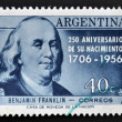ARGENTINA - CIRCA 1956: A stamp printed in Argentina shows Benjamin Franklin, circa 1956 — Stock Photo