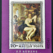 Stock Photo: HUNGARY - CIRCA 1977: stamp printed in Hungary, shows the painting Bathsheba at the Fountain by Rubens,in commemoration of 400 anniversary of his birth, circa 1977